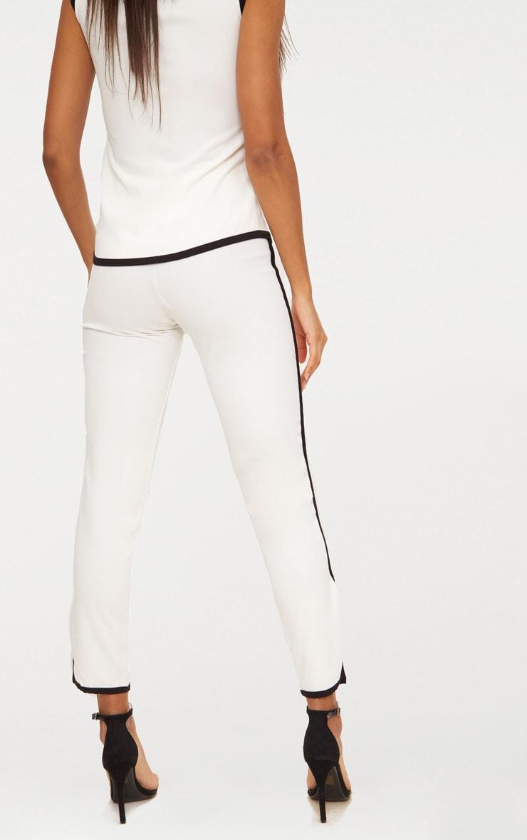 White Contrast Binding  Split Straight Leg Trousers  4