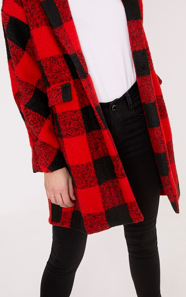 Stefanie Red Checked Oversized Coat 5
