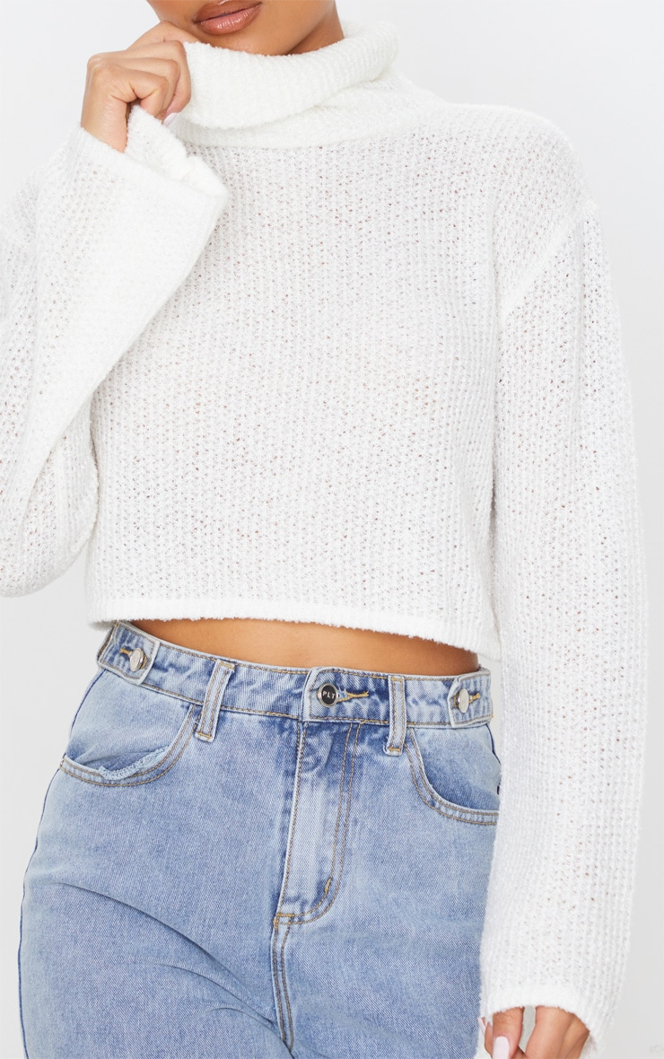 Cream Boucle Crop Knitted Roll Neck Sweater 5