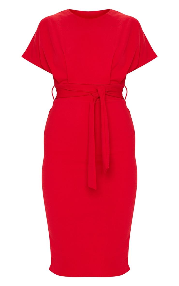 Red Short Sleeve Tie Waist Midi Dress 3