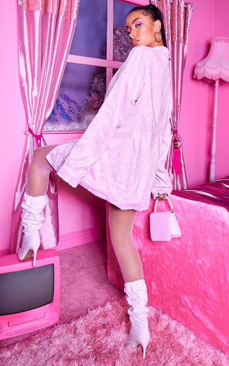 Light Pink Glitter Oversized Blazer 2