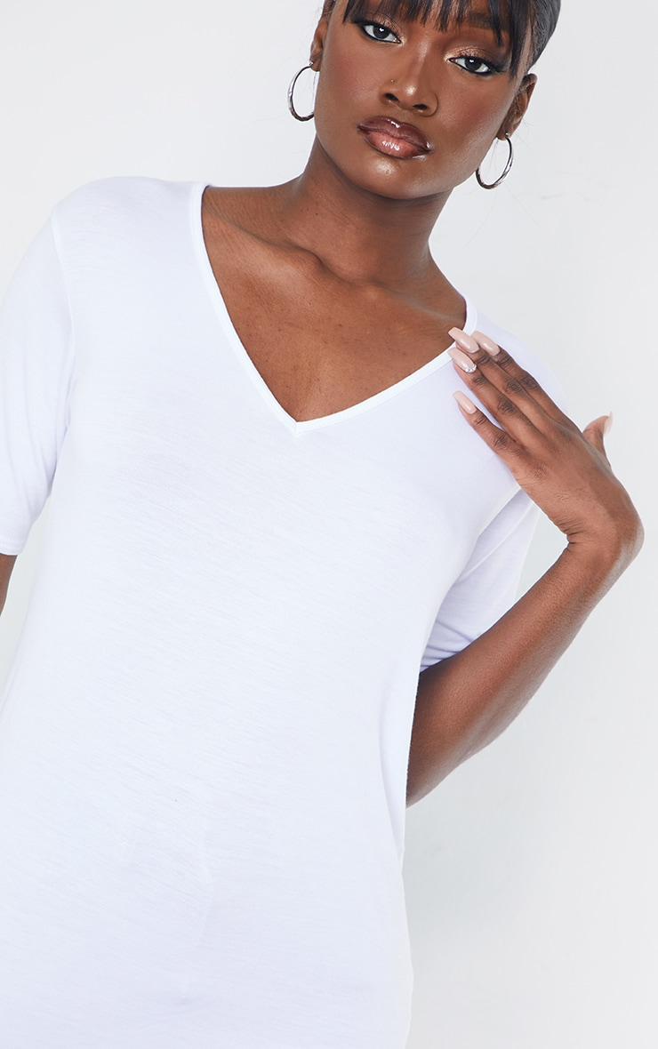 Tall White Basic V Neck T shirt 4