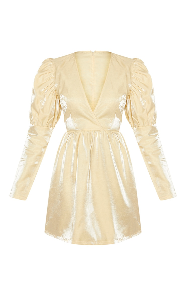 Champagne Metallic Plunge Puff Sleeve Skater Dress 3