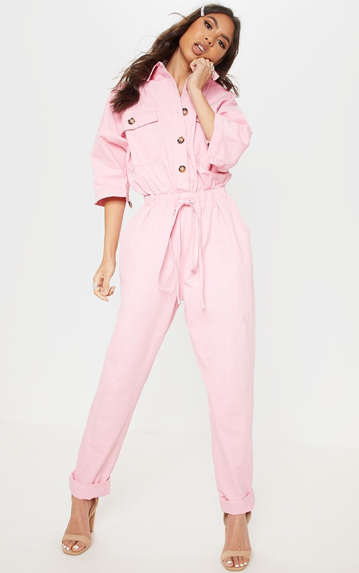 Pale Pink Tortoise Button Chambray Jumpsuit  1
