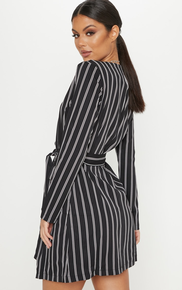 Black Belted Stripe Blazer Dress  2