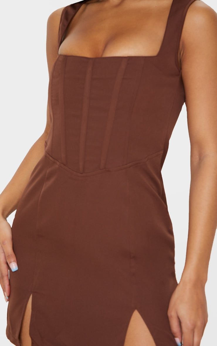 Chocolate Brown Sleeveless Corset Detail Bodycon Dress 5