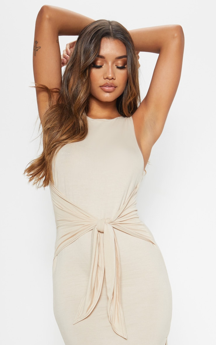 Beige Sleeveless Tie Waist Midi Dress 5