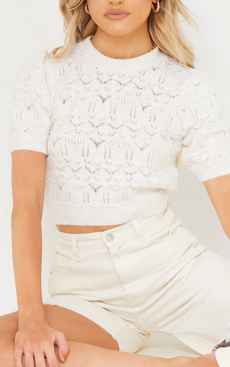 Cream Soft Pointelle Knitted Short Sleeve Top 4
