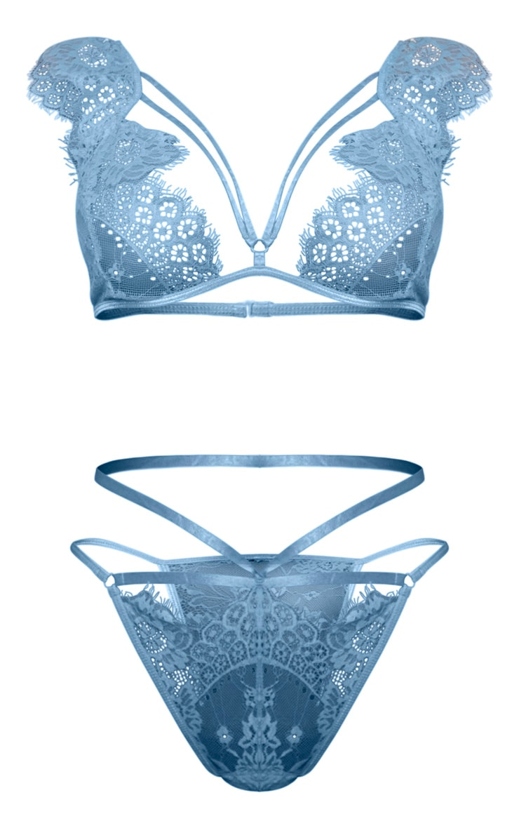 Baby Blue Harness Strap Lace Shoulder Lingerie Set 5