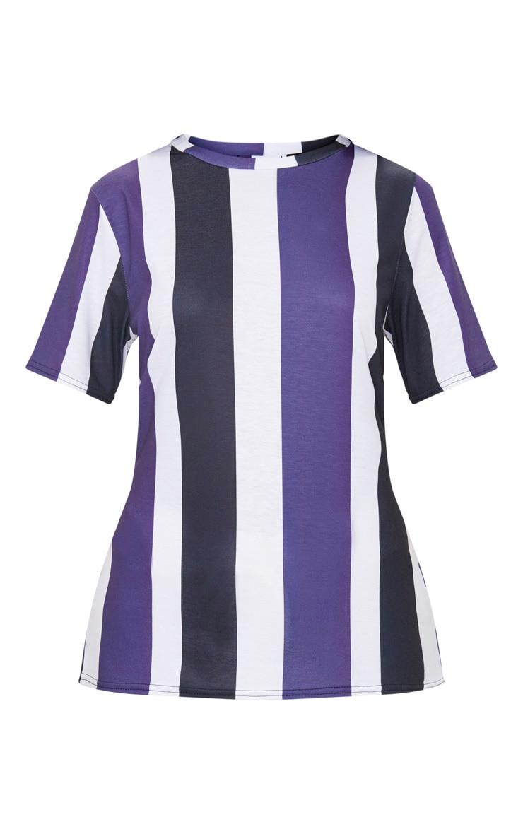 Black Multi Striped T Shirt  3