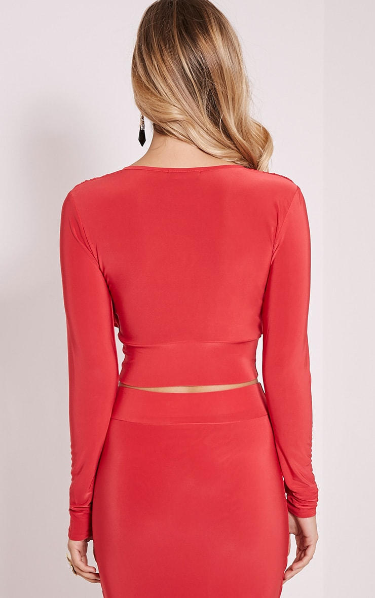 Nicole Red Slinky Ruched Crop Top 2