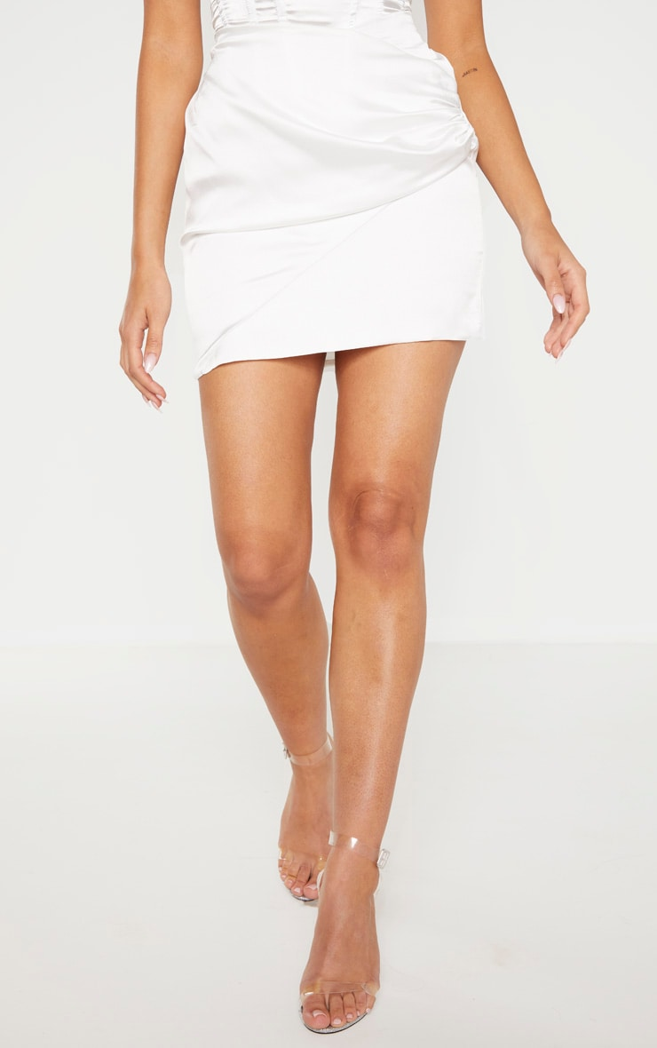 White Ruched Wrap Over Mini Skirt 2