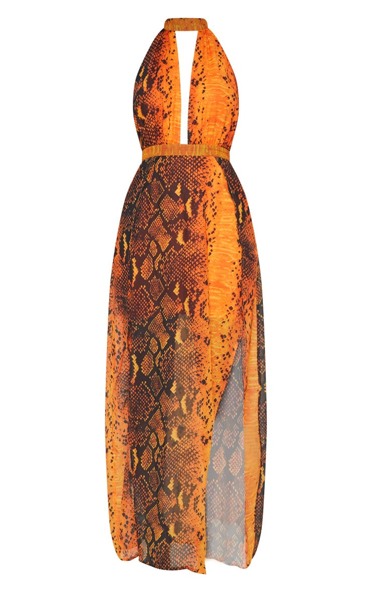 Leala Orange Snake Print Maxi Dress 3