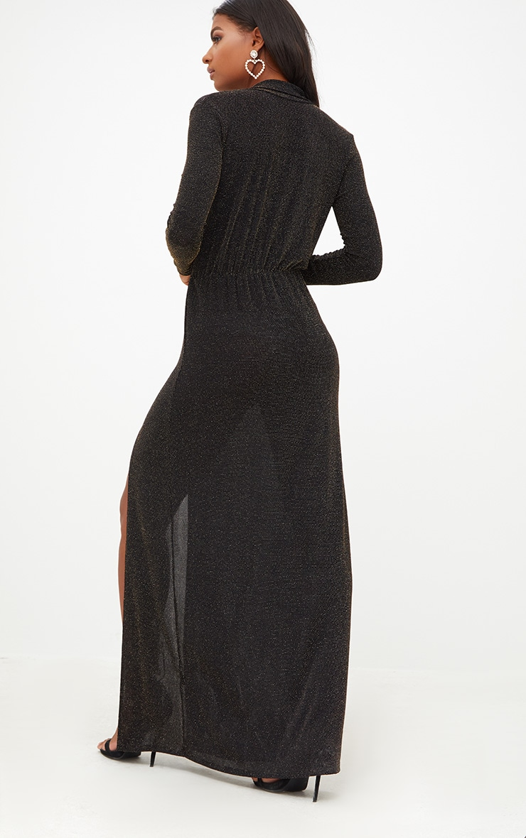 Black Lurex Plunge Long Sleeved Maxi Dress 2