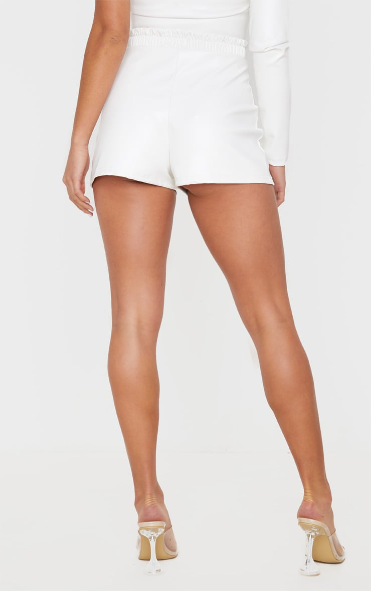 Petite Cream Ruched Waist PU Short 4