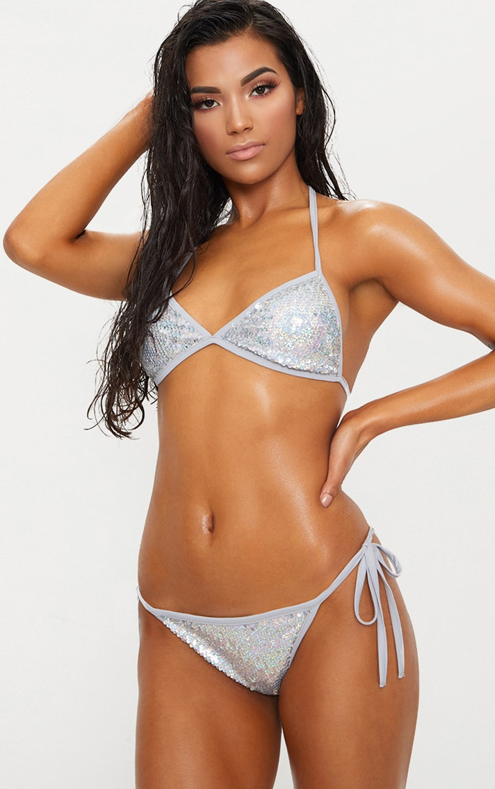 Multi Silver Sequin Triangle Bikini Top 1