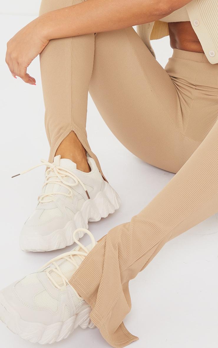 Latte Ribbed Split Hem Leggings 4