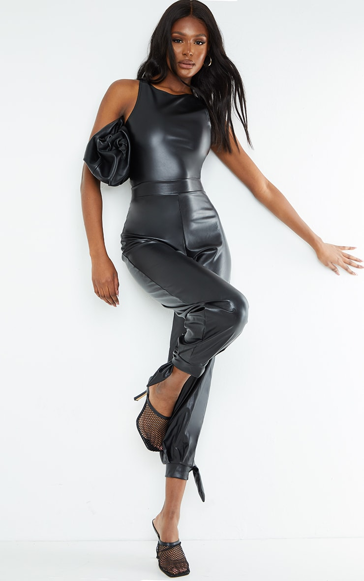 Tall Black PU Racer Bodysuit 3