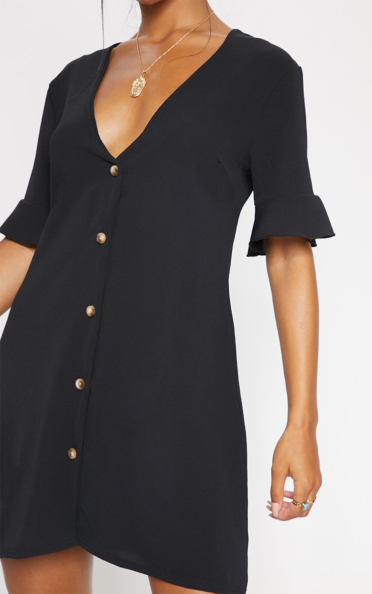Black Oversized Button Front Shirt Dress  5