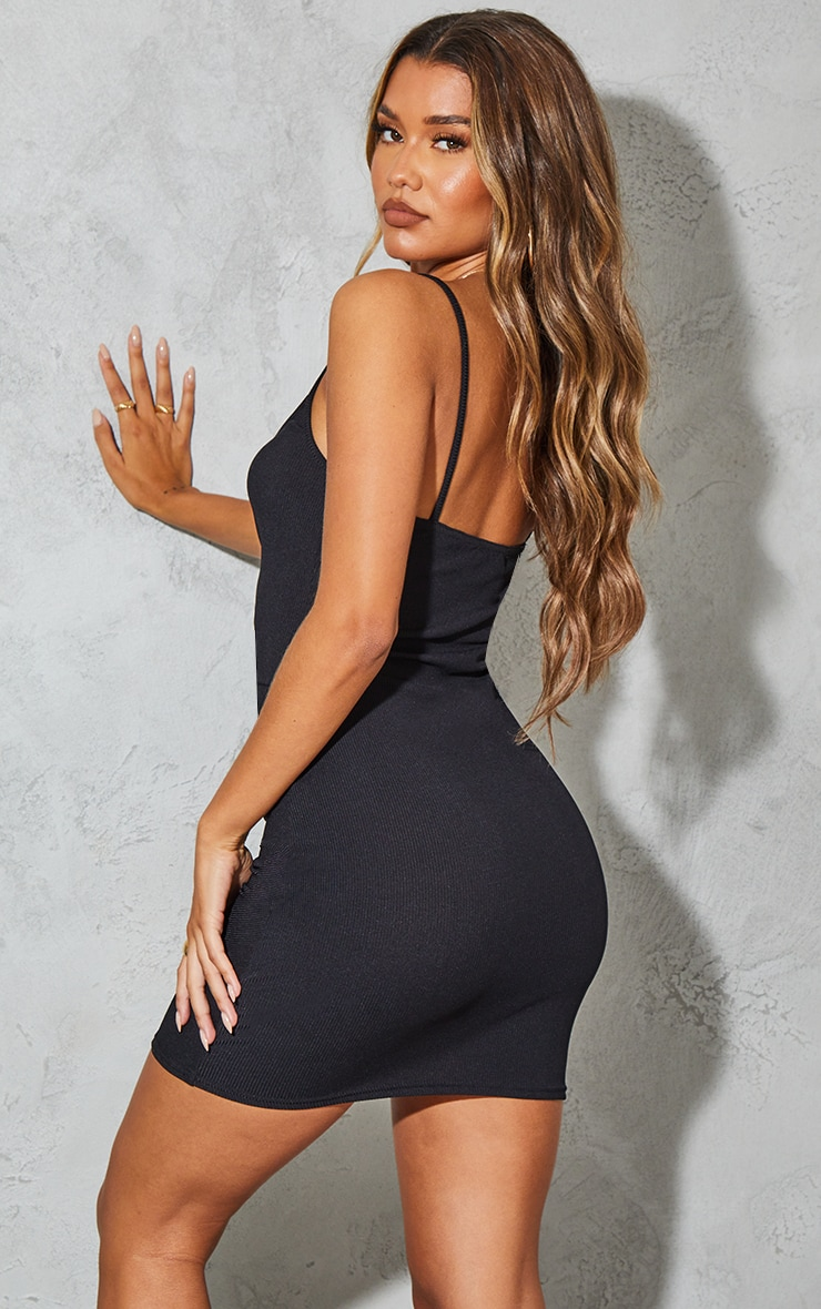 Black Ribbed Strappy Gathered Front Bodycon Dress 2