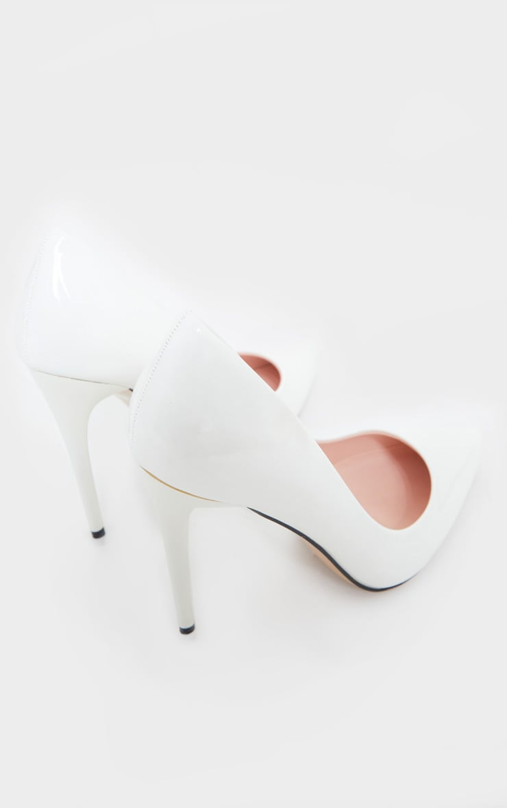White Patent PU High Court Heel Shoes 4