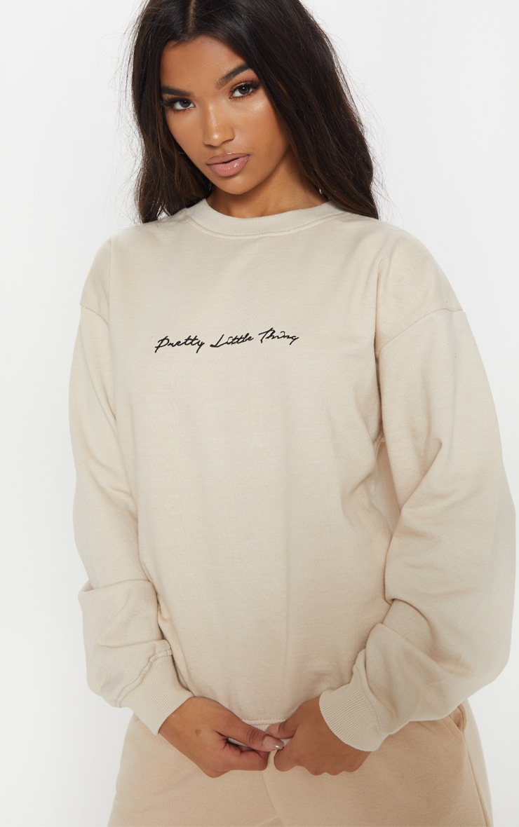 PRETTYLITTLETHING Cream Embroidered Oversized Sweater 5