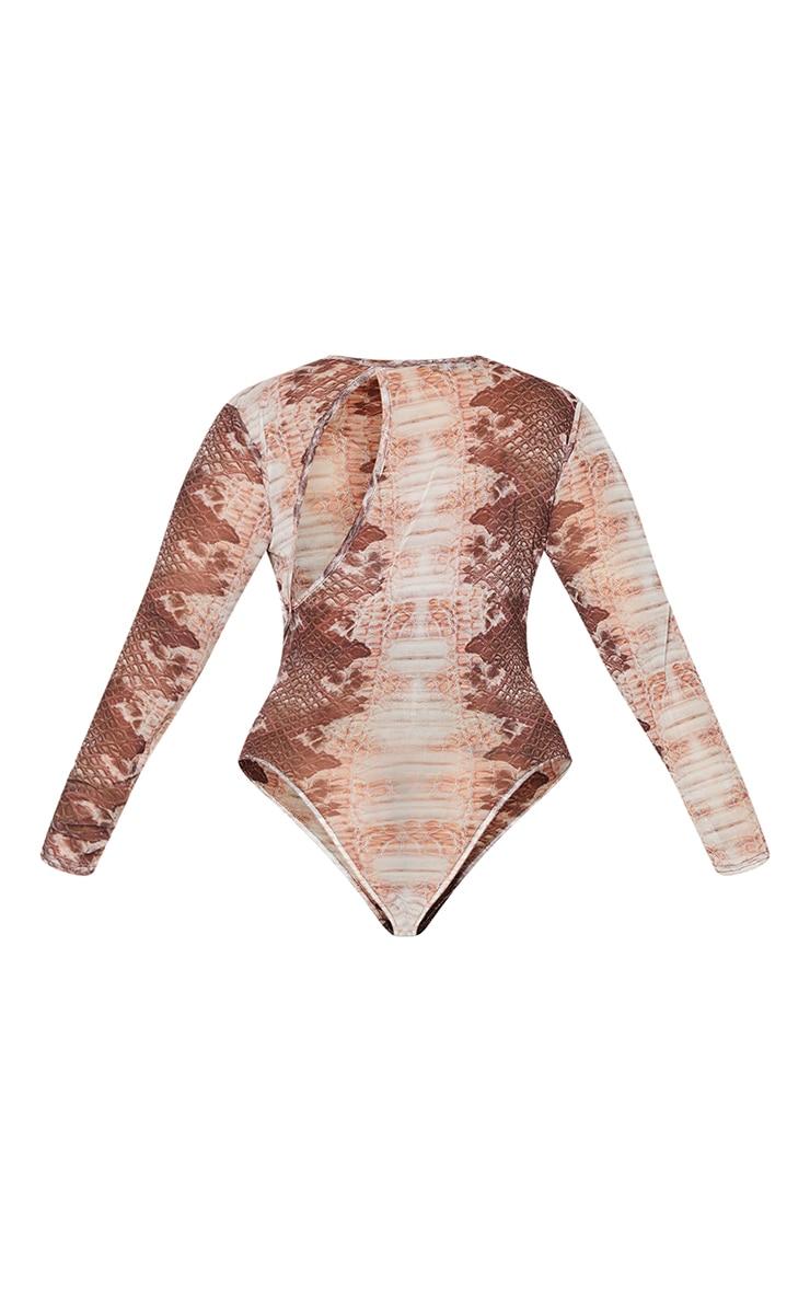 Plus Snake Printed Cut Out Mesh Bodysuit 6