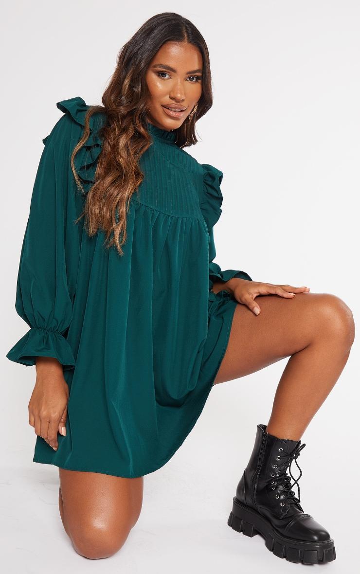 Emerald Green Ruffle Binding Detail Shirt Dress 1