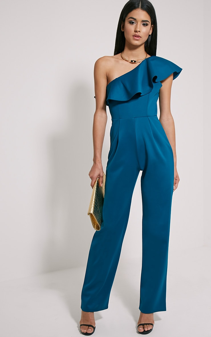 Kerry Teal One Shoulder Frill Jumpsuit 3