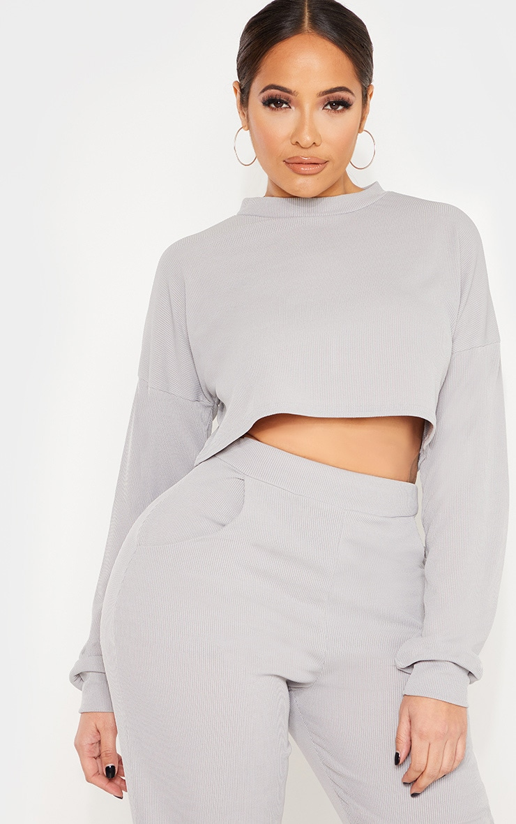 Shape Grey Marl Ribbed Long Sleeve Extreme Crop Top 1