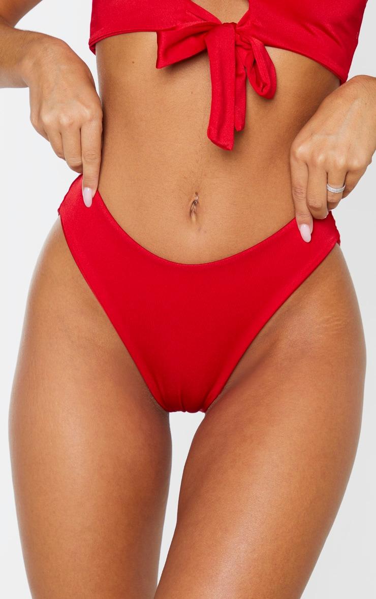 Red High Waisted Bikini Bottom 6