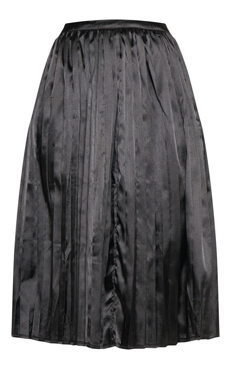 Tall Black Satin Pleated Midi Skirt  3
