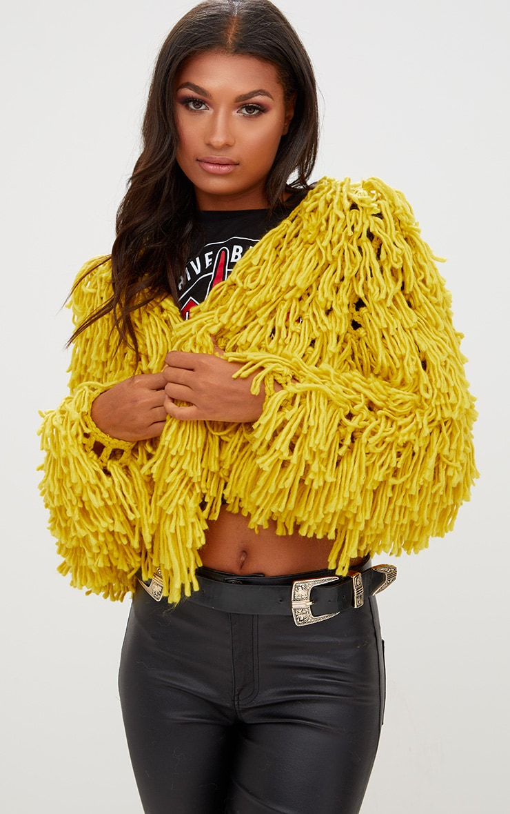 Lime Shaggy Knit Cropped Cardigan