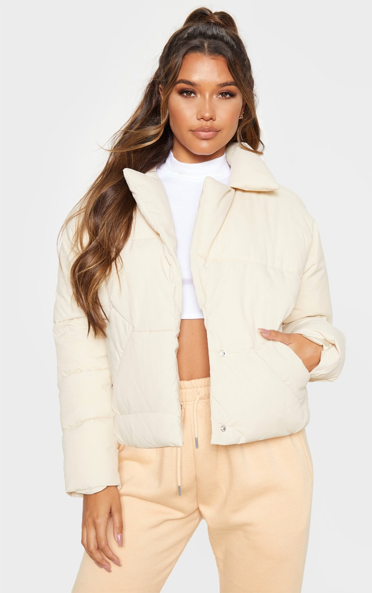 Stone Peached Oversized Cropped Puffer 1