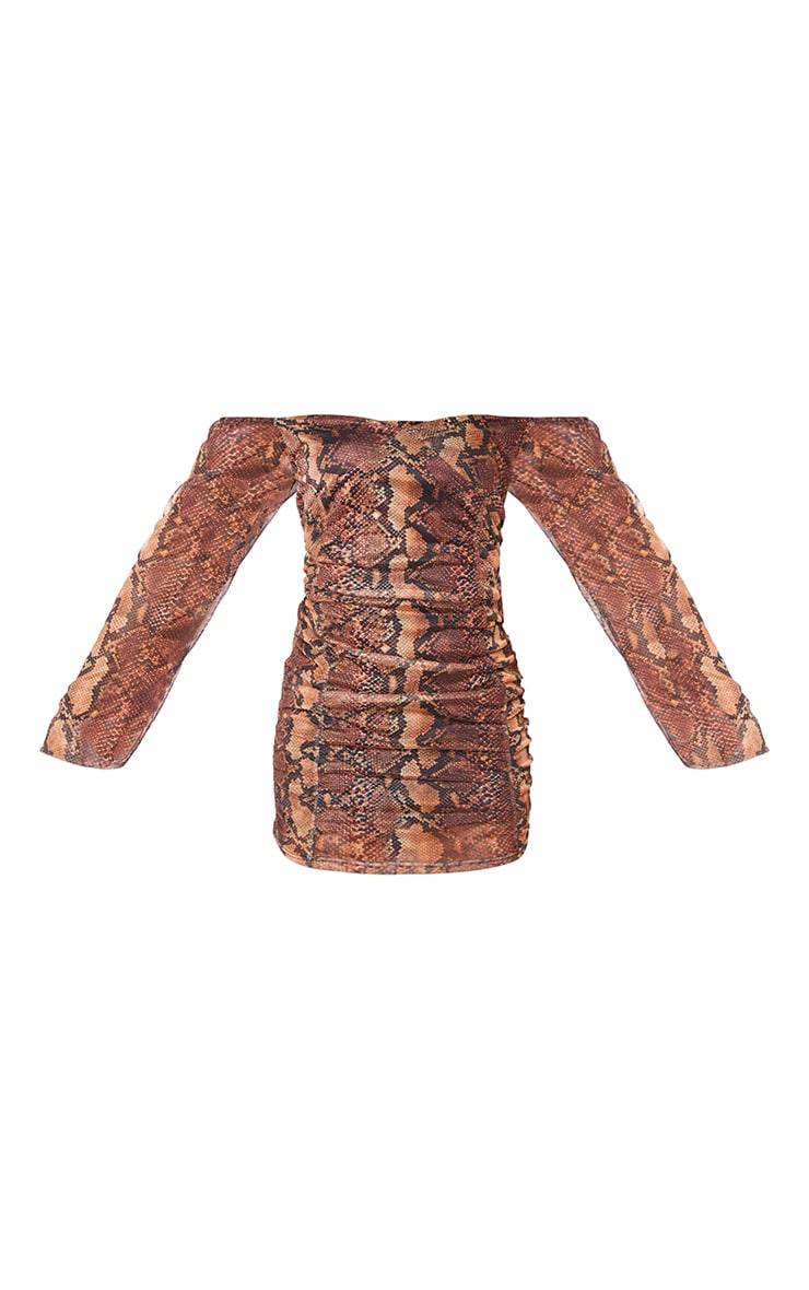 Brown Snake Print Mesh Double Ruched Long Sleeve Bodycon Dress 5