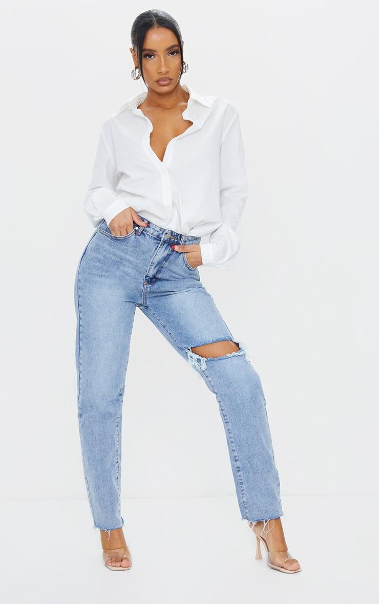 Vintage Wash Blue Raw Hem Knee Rip Mom Jeans 1