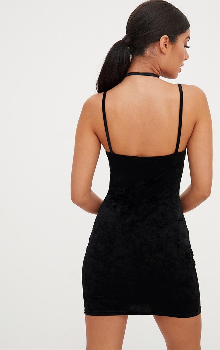 Black Crushed Velvet Strappy Plunge Bodycon Dress 2