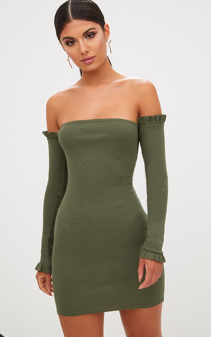 Khaki Ribbed Frill Bardot Bodycon Dress