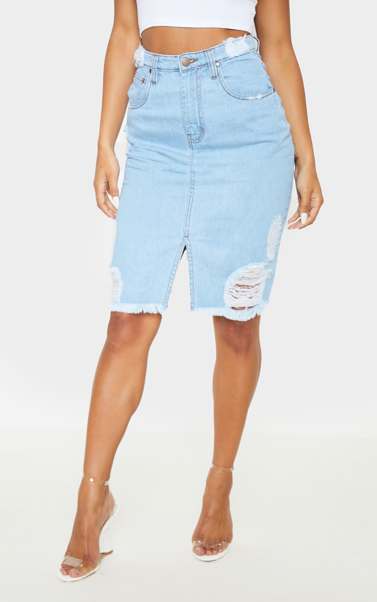 Light Wash Distressed Hem Midi Denim Skirt 2