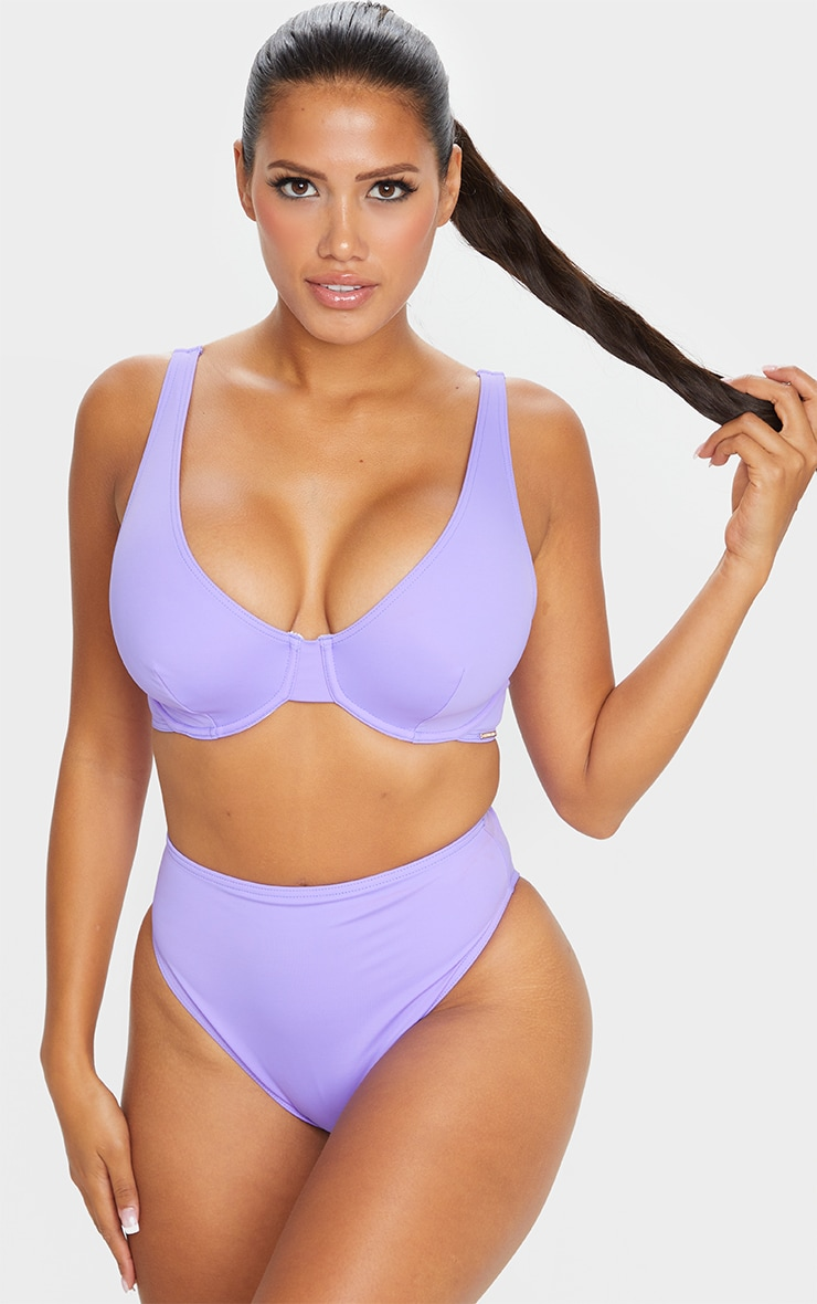 Recycled Lilac Mix & Match High Waist Bikini Bottom 1