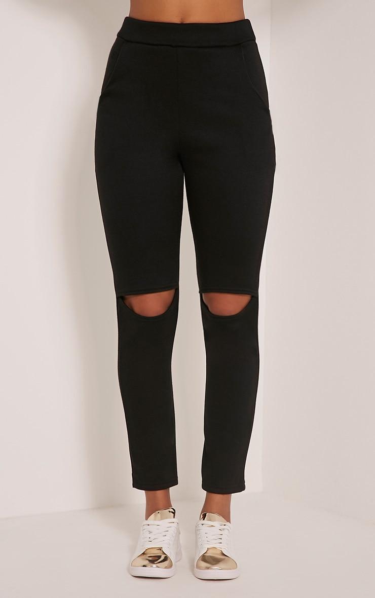 Dionne Black Slit Knee Joggers 2