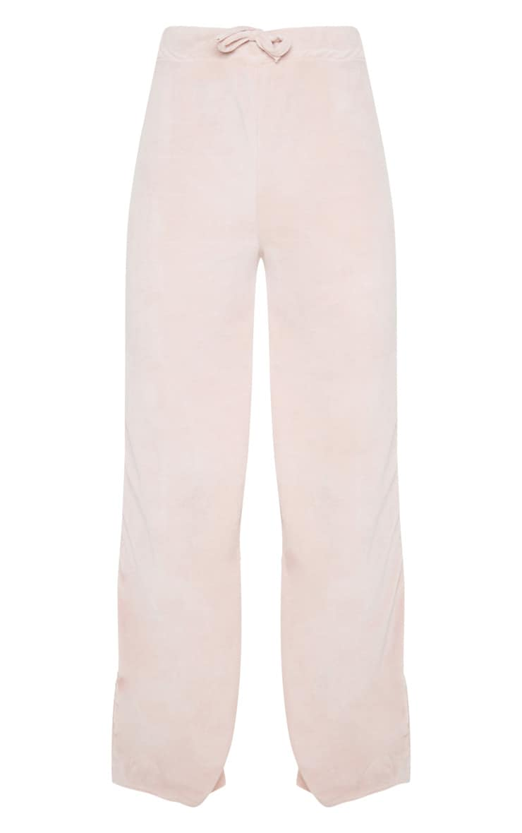 Rose Pink Velour High Waisted Wide Leg Pants 3