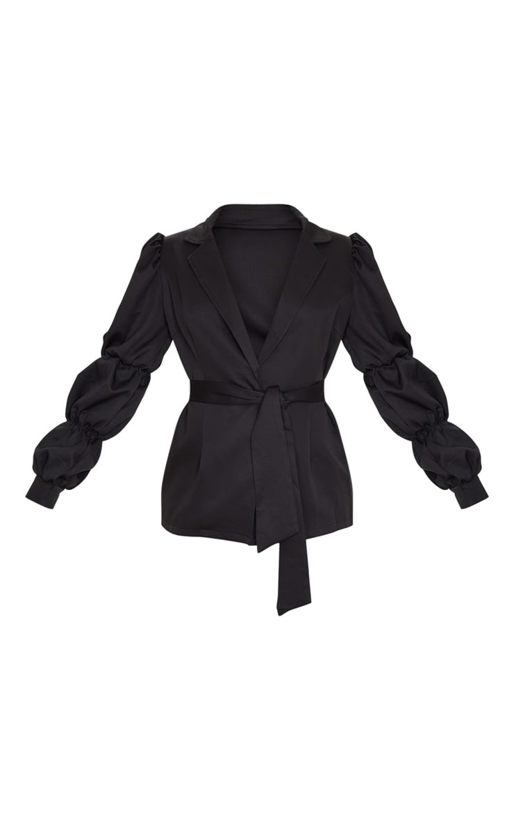Black Woven Tie Side Bubble Sleeve Blazer 3