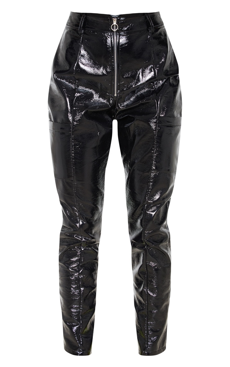 Black Vinyl Zip Up Straight Leg Trouser 3