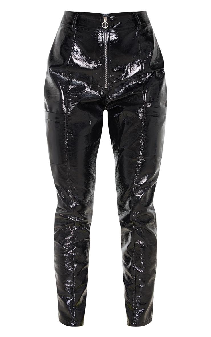 Pantalon droit en similicuir noir à poches et zip 3