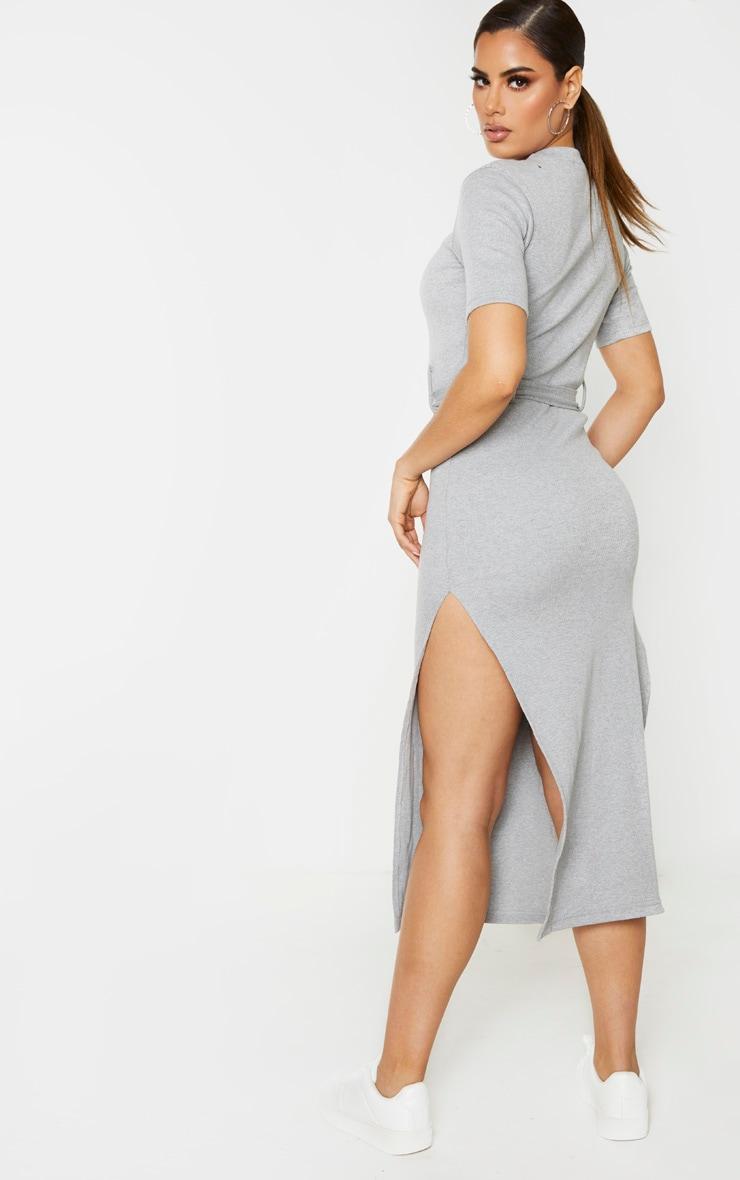 Tall - Robe mi-longue très côtelée grise à détail ceinture 2