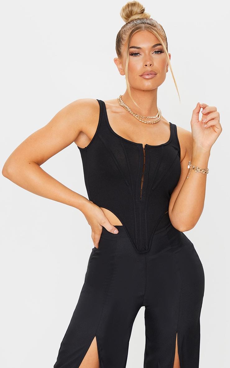 Black Jersey Pointed Hem Corset 1