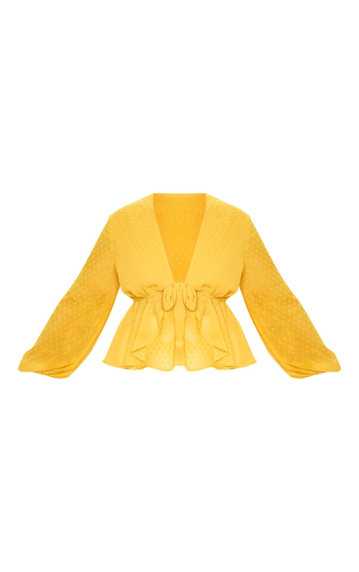 Plus Mustard Dobby Mesh Tie Front Blouse 3