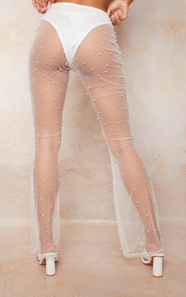 Cream Mesh Beaded Detail Knicker Insert Flare Trousers 3