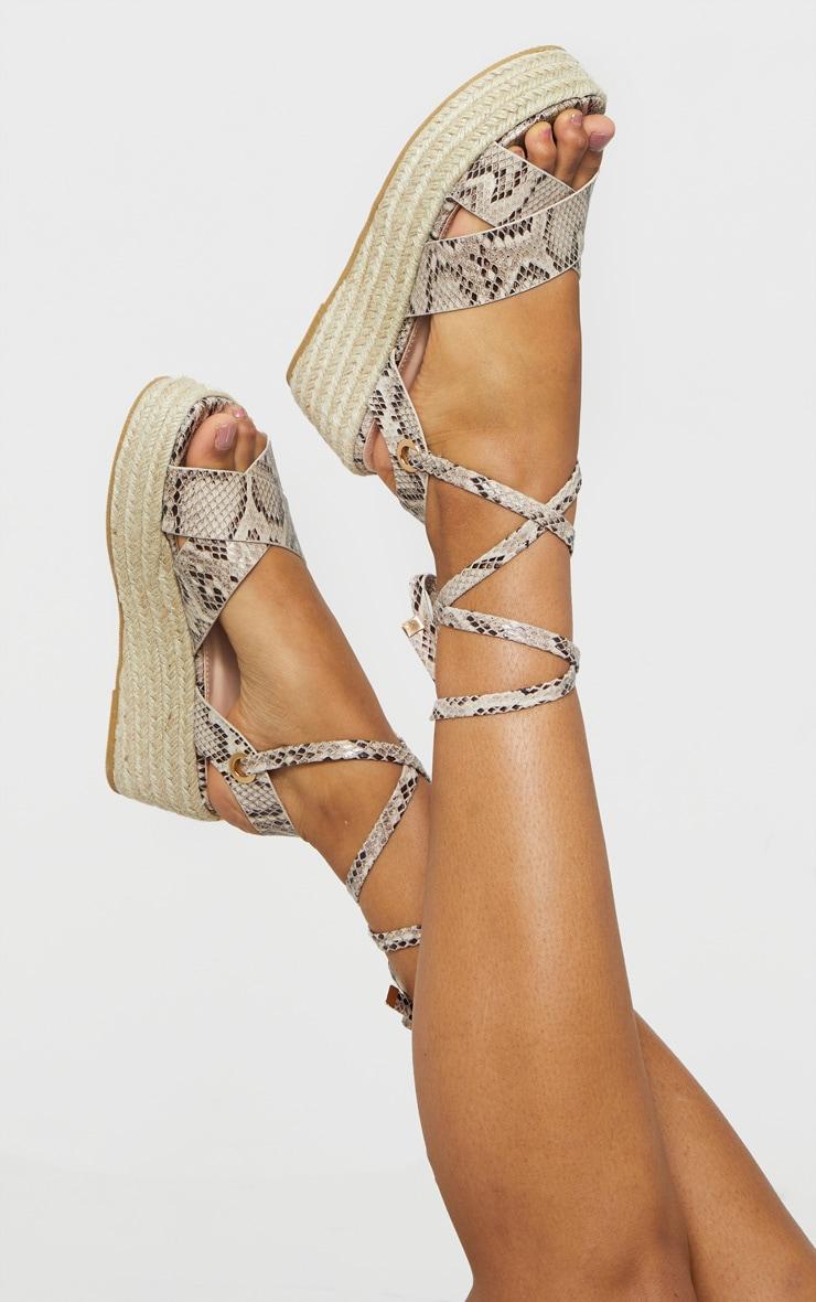 Snake Cross Strap Espadrille Flatform Ankle Tie Sandals 1